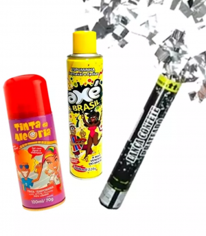 Kit Festa – Espuma, spray colorido e confete